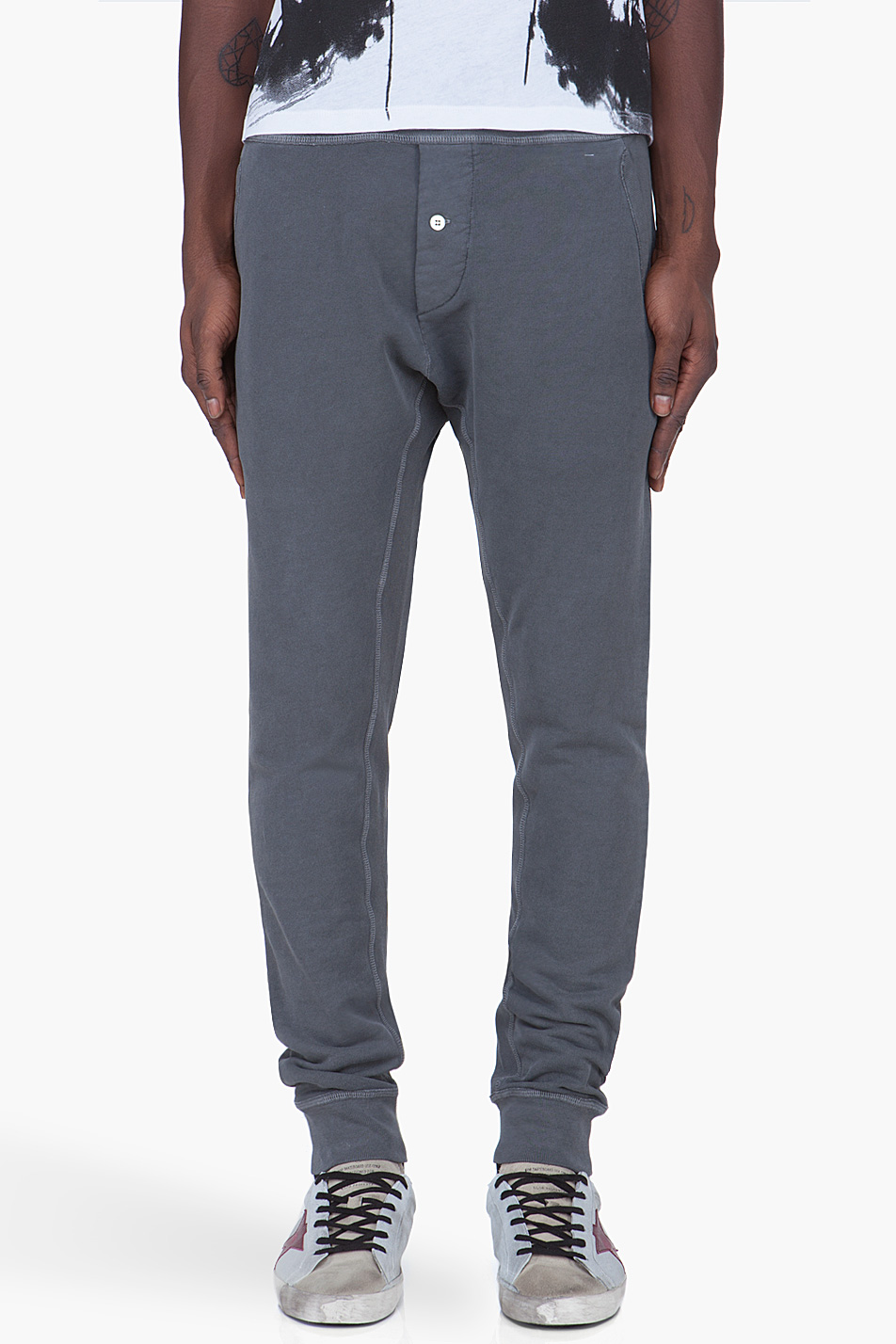 These drop-crotch jogger pants are perfect for such occasions. What's best about them is that they strike the perfect balance between casual comfort and style - being comfortable as well as fashion-forward all at the same time.