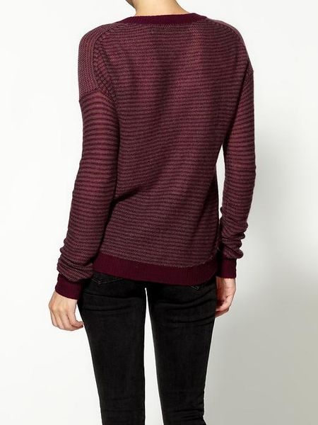 Enza Costa Cashmere Reverse Stripe Crew Sweater in Red (wine/pebble)