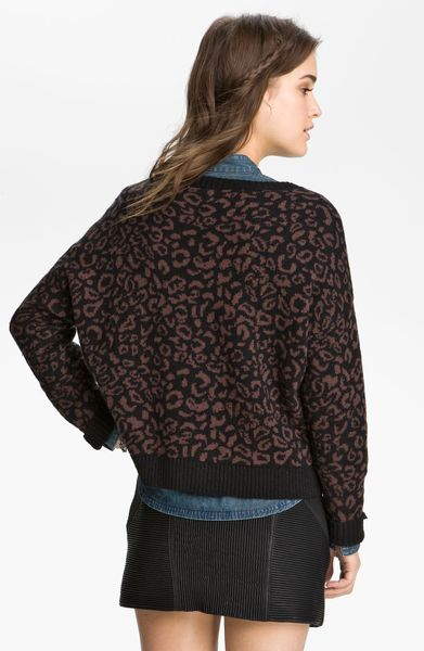 Free People Leopard Print Sweater in Brown dark cocoa