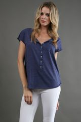 Free People Boyfriend Tee in Navy Heather - Lyst