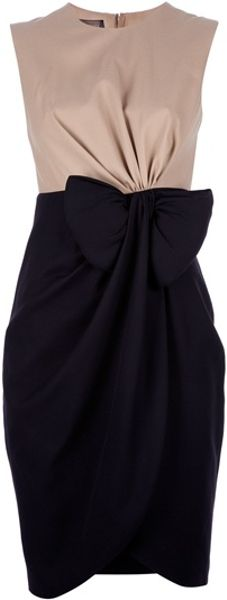 Giambattista Valli Bow Detail Dress in Black (beige) - Lyst