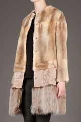 Giambattista Valli Fur Coat in Brown - Lyst