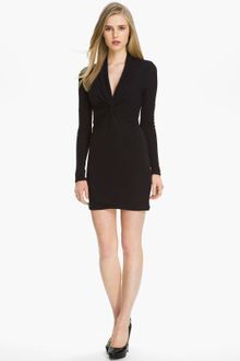 Halston Heritage Dress on Halston Heritage Twist Front Jersey Dress In Black   Lyst