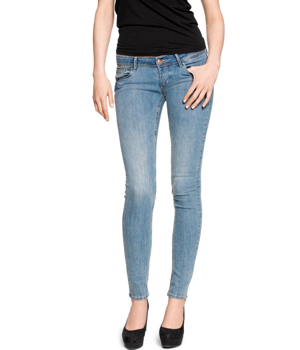 h m super skinny super low jeans in black lyst. Black Bedroom Furniture Sets. Home Design Ideas