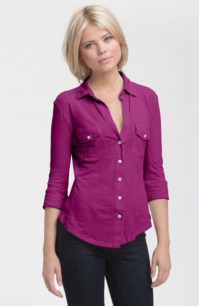 James Perse Button Front Jersey Shirt in Purple (plum) - Lyst