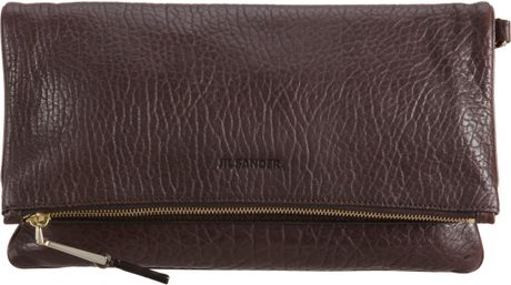 Jil Sander Foldover Clutch in Brown (gold) - Lyst