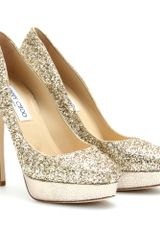 Jimmy Choo Cosmic Glitter Platform Pumps in Gold - Lyst