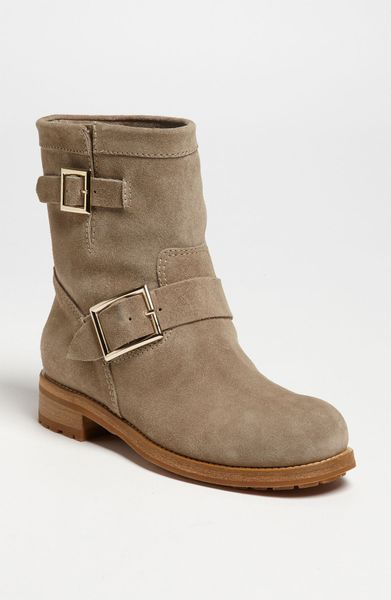 Jimmy Choo Youth Short Biker Boot In Beige Khaki Suede