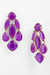 Kate Spade Statement Chandelier Earrings in Purple (african violet/ gold) - Lyst