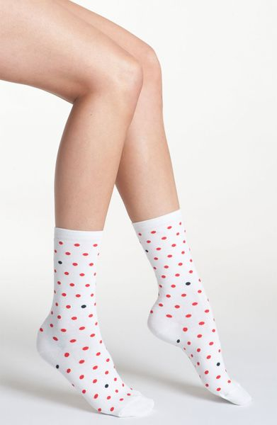 Kate spade dotted socks in white modern red lyst
