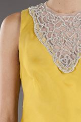 Lela Rose Crystal Embroidered Dress in Yellow (marigold) - Lyst