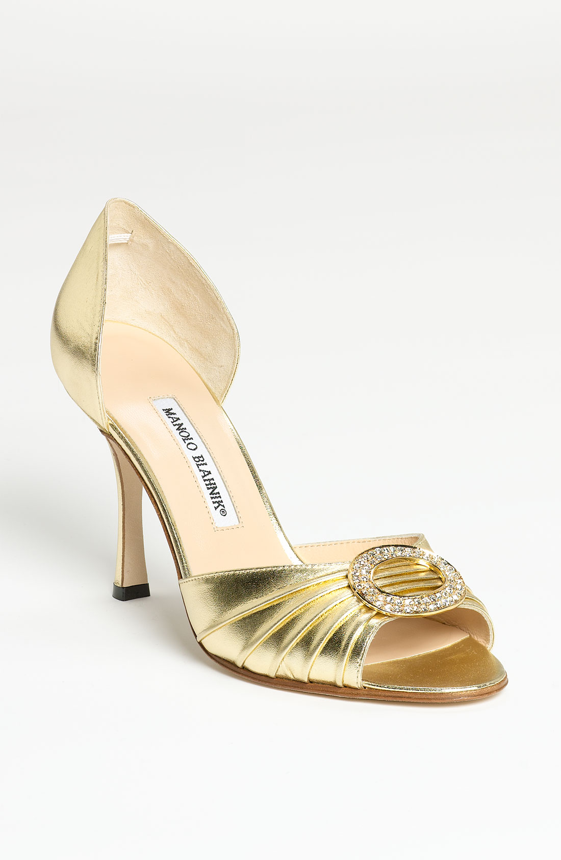 Shoeniverse: Manolo Blahnik Sedaraby d'orsay pumps in gold