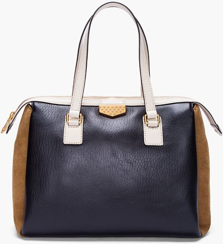 Marc By Marc Jacobs Large Black Cream Satchel in Black