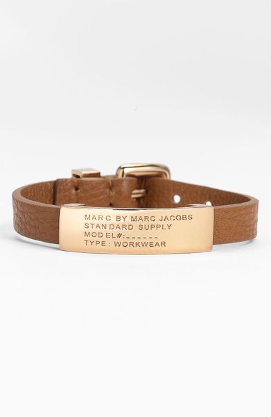 Marc By Marc Jacobs Leather ID Bracelet in Pink (cinnamon stick/ rose gold)