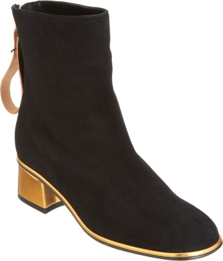 Marni Square Toe Ankle Boot in Black (gold)