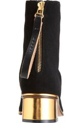 Marni Square Toe Ankle Boot in Black (gold) - Lyst