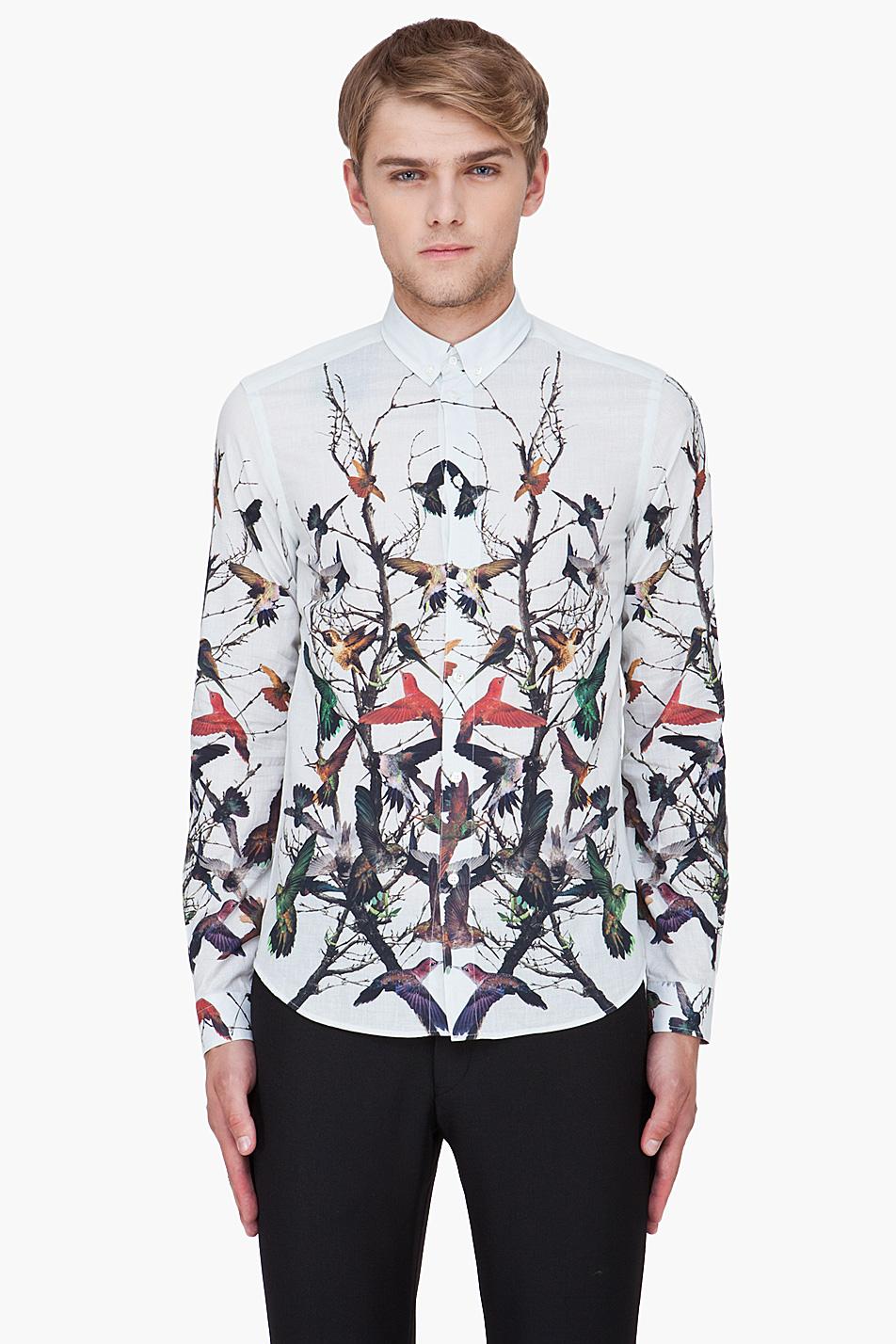 Mcq by alexander mcqueen ivory hummingbird print shirt in for Alexander mcqueen shirt men
