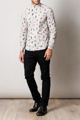 Mcq By Alexander Mcqueen BirdPrint Shirt in White for Men (taupe) - Lyst