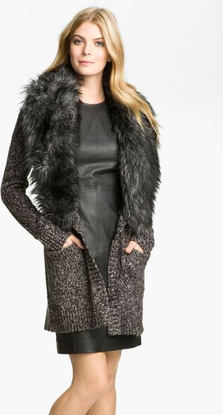michael kors faux fur collar cardigan   sweater jeans and