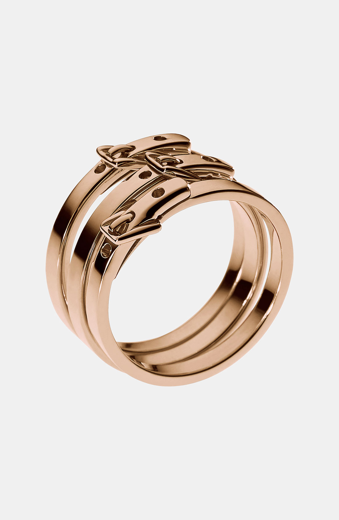 michael michael kors michael kors buckle stack rings in pink rose gold lyst. Black Bedroom Furniture Sets. Home Design Ideas
