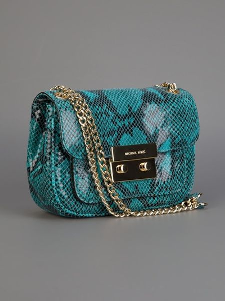 Michael Kors Snake Print Chain Bag In Blue Snake Lyst