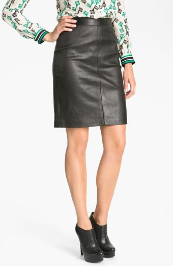 Milly Seamed Leather Pencil Skirt - Lyst