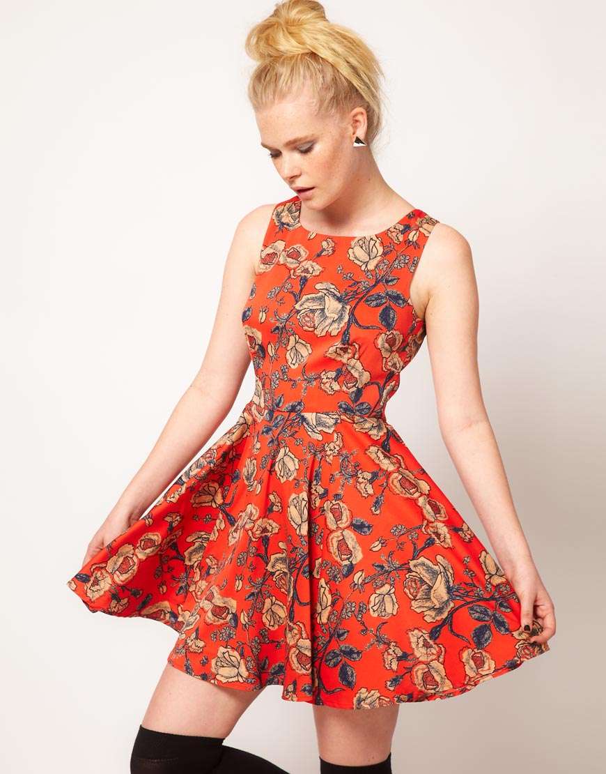Minkpink Inked Rose Print Skater Dress in Red | Lyst