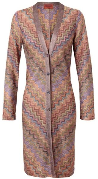 Missoni Long Zigzag Knit Cardigan in Multicolor (multi) - Lyst