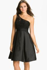 Ml Monique Lhuillier Bridesmaids One Shoulder Lace Taffeta Dress - Lyst
