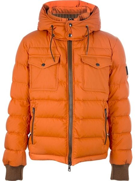 Moncler Feather Down Jacket In Orange For Men Lyst