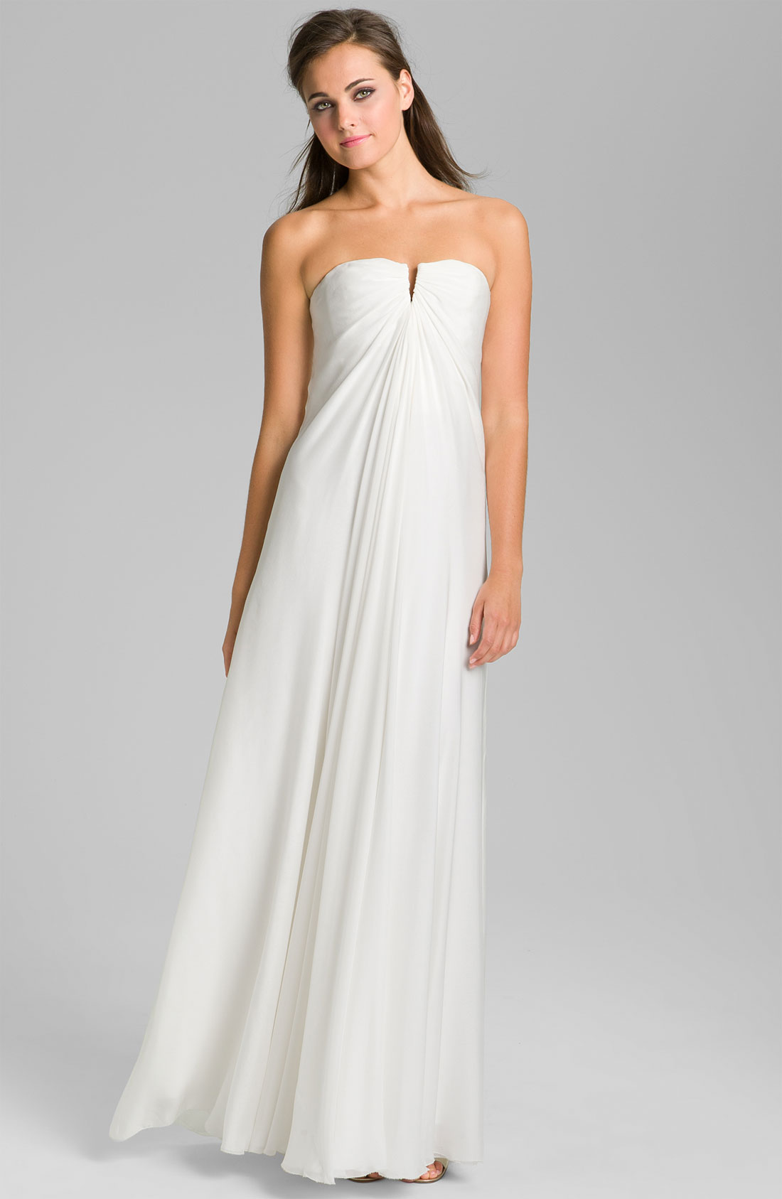 New nicole miller strapless silk chiffon bridal dress gown for Nicole miller dresses wedding