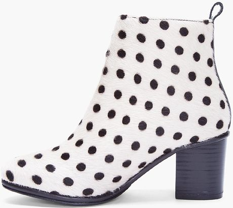 Opening Ceremony Ivory Polka Dot Pony Boots In Black