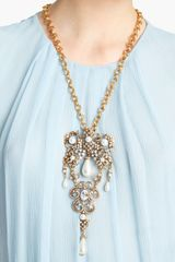 Oscar De La Renta Baroque Jeweled Brooch Necklace in Gold (white) - Lyst