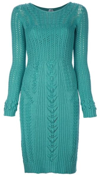 Philosophy Di Alberta Ferretti Wool Dress in Green - Lyst