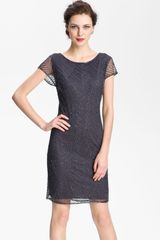 Pisarro Nights Beaded Overlay Silk Chiffon Dress - Lyst