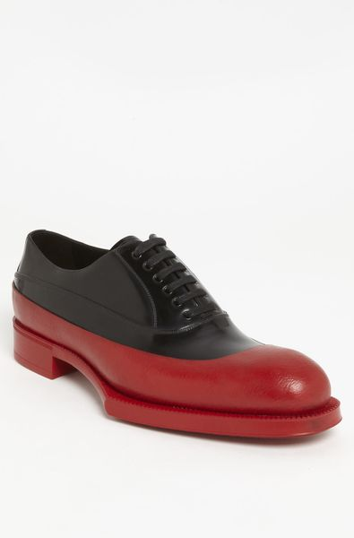 Prada Rubber Tipped Oxford in Black for Men (black/ red) - Lyst