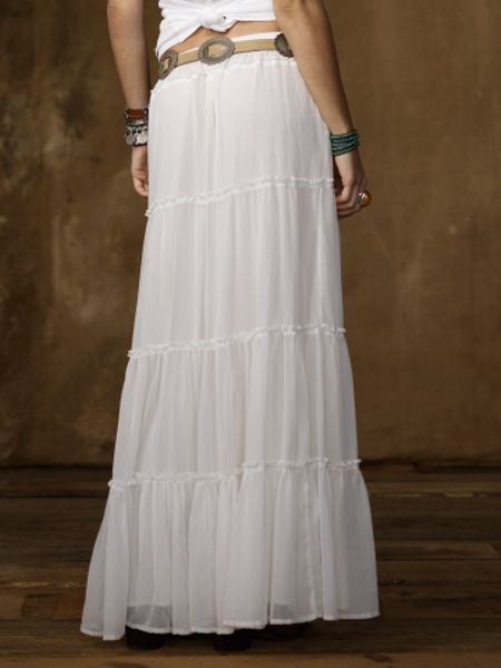 Ralph Lauren Crinkle Tiered Maxi Skirt In White Nevis