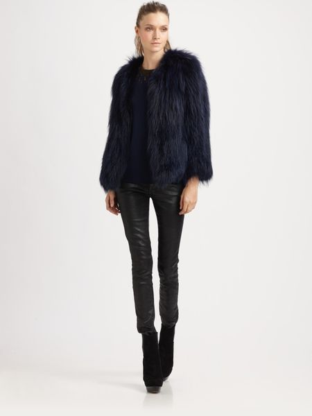Sachin & Babi Isla Raccoon Fur Jacket in Blue (midnight)