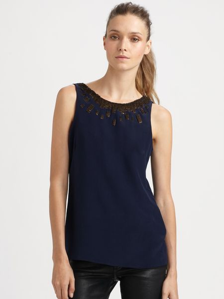 Sachin & Babi Leo Embroidered Top in Blue (midnight) - Lyst