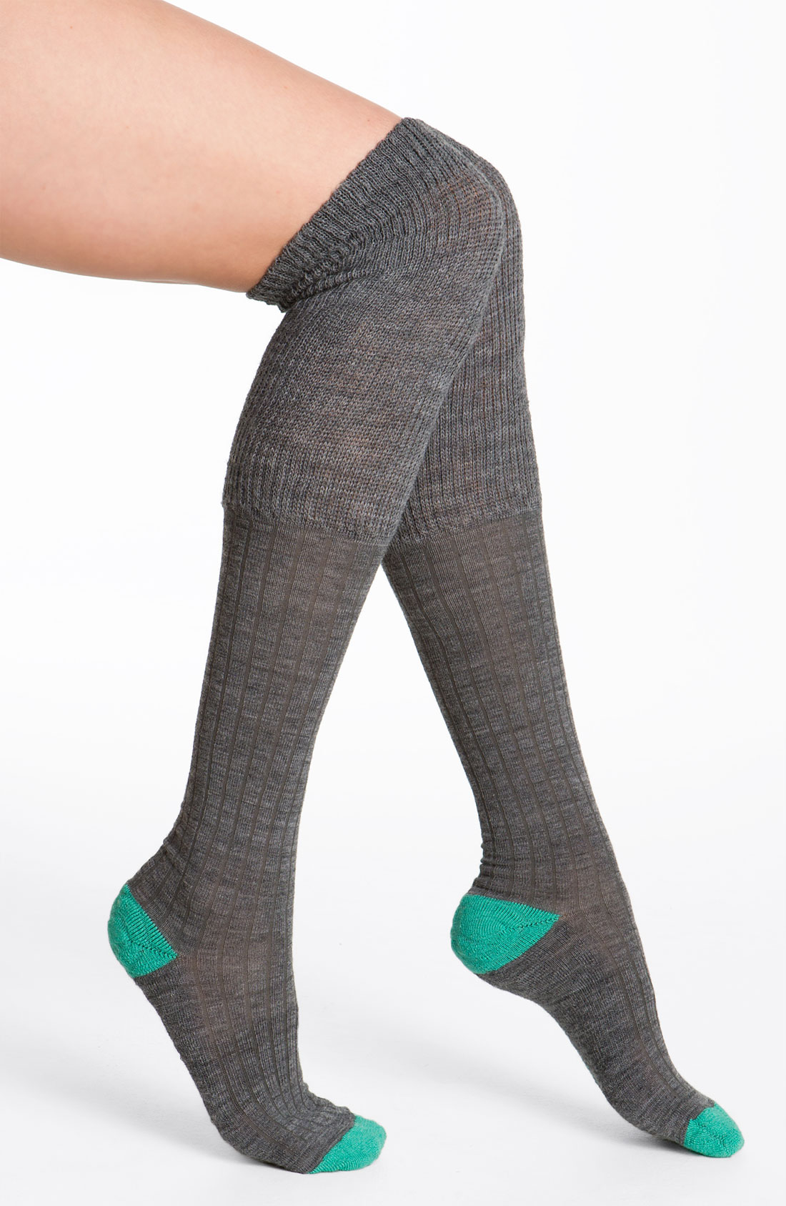 smartwool over the knee socks in gray medium grey heather. Black Bedroom Furniture Sets. Home Design Ideas