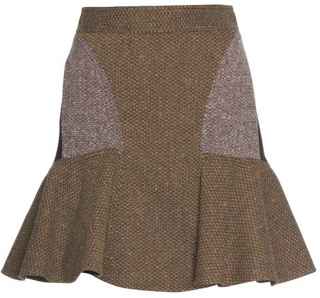 Stella Mccartney Patch work Skirt in Brown (bark) - Lyst
