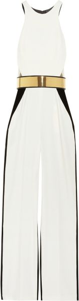 Stella Mccartney Anna Stretch Cady and Velvet Jumpsuit in White - Lyst
