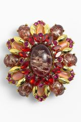 Tasha Encrusted Oval Brooch - Lyst