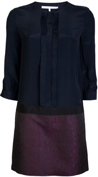 Victoria Beckham Plisse Dress in Blue (navy) - Lyst