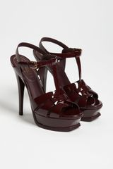 Saint Laurent Tribute Sandal in Red (dark burgundy) - Lyst