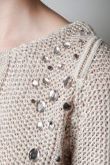 Zara Openwork Jumper with Diamante On Shoulders in Beige (pink) - Lyst