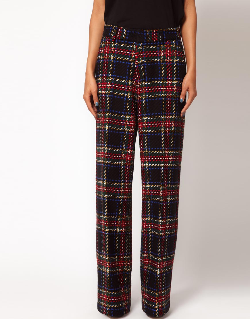 19c6583192127 ASOS Collection Wide Leg Tartan Trousers in Red - Lyst