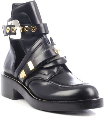 Balenciaga Cutout Leather Ankle Boots - Lyst