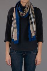 Burberry Haymarket Checked Scarf in Blue (nude) - Lyst