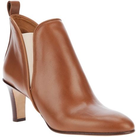 Chloé Mid Heel Ankle Boot in Brown - Lyst